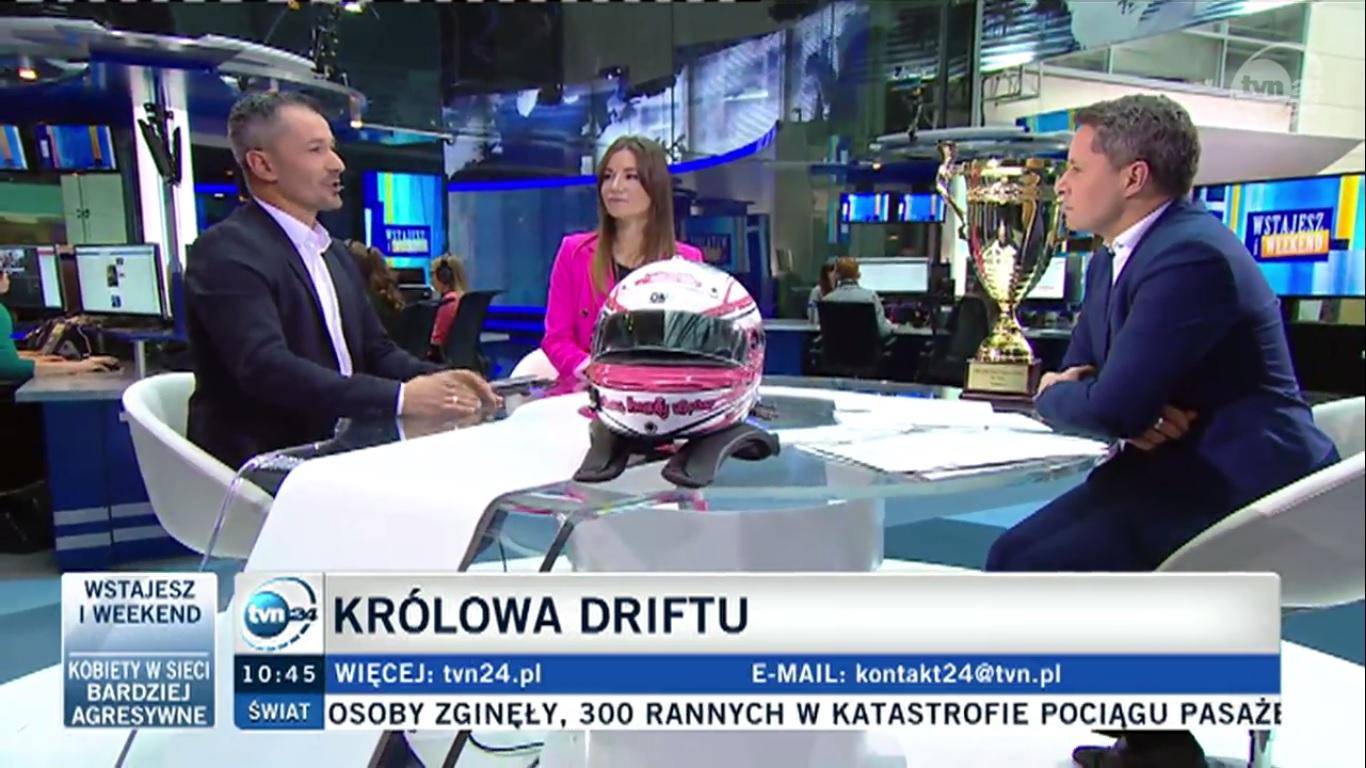 Karolina Pilarczyk w TVN24- Wstajesz i weekend 2016 - Królowa driftu zdradza tajniki sukcesu